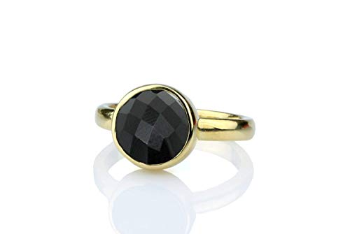 Anemone Unique Gold Bezel Black Onyx Ring - Beautiful Onyx Gold Stackable Ring With Fancy Ring Box For Glamorous Women - Ideal Cut 10 Mm Gemstone Ring [Handmade]
