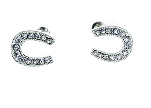 Stud Earrings [Lucky Horseshoe] - Hypoallergenic -