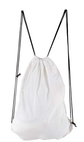 Canvas Drawstring Backpack - 6-Pack Plain Cotton Gym Sack Cinch Bag, DIY Customizable, White -