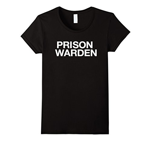 Womens Funny Halloween Prison Warden Costume Shirt Large Black
