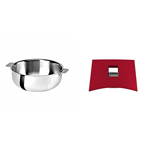 Cristel SR22QMP Saucier, Silver, 3 quart with Cristel Mutine Plmaf Side Handle, Raspberry by  (Image #1)