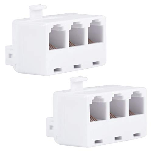 Power Gear White Telephone in-Wall RJ11 6C Triplex Adapter, 2 Pack, Home or Office, Compatible with Answering Machines, Modems, Fax Machines, 46059