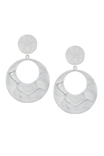[THE JEWEL RACK MATTED WAVY CENTER CUTOUT DOUBLE LAYER DISKS EARRINGS (Matted Silver)] (Wavy Guy Costume)