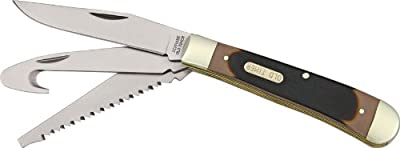 Schrade 69OT Old Timer Premium Trapper Folding Knife with Saw, Gut hook, and Clip Point Blade