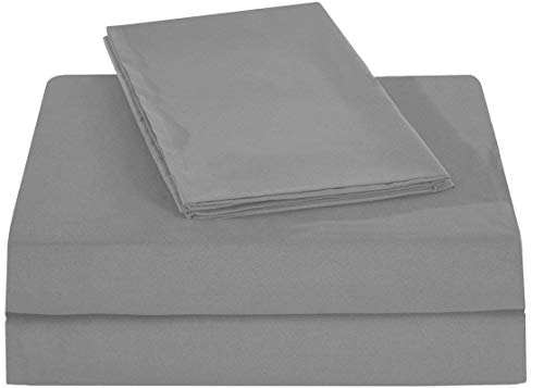 (King of Cotton Bed Sheets Set, 650 Thread Count Egyptian Cotton Sateen Silver Grey Solid 4-PCs Twin Extra Long Sheets, Fitted Sheet Fit up to up to 14 Inches Deep Pocket.)