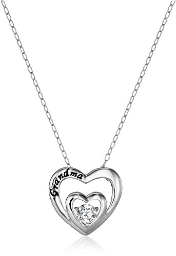 Sterling Silver Cubic Zirconia Grandma Double Heart Pendant Necklace