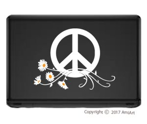 PEACE Sign Symbol Car Window Sticker Decal-LARGE WHITE & YELLOW Peace Daisy Flower Power VINYL sticker for car window laptop walls truck trailer by AmiArt (Image #2)