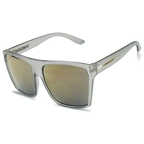 Oversize Squared Trapezoid Frost Grey Frame Festive Sunglasses with Copper Mirrored Lens