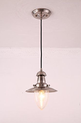 MSTAR Industrial Pendant Lighting Fishman Style Ceiling Light Fixture Farmhouse Pendant Light for Kitchen Café Bar (Satin (Fisherman Ceiling Pendant)