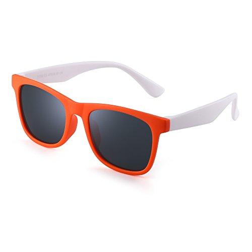 Polarized Kids Sunglasses Rubber Boys Girls Children Flexible Glasses Age 3-12 (Orange White/Polarized Grey)