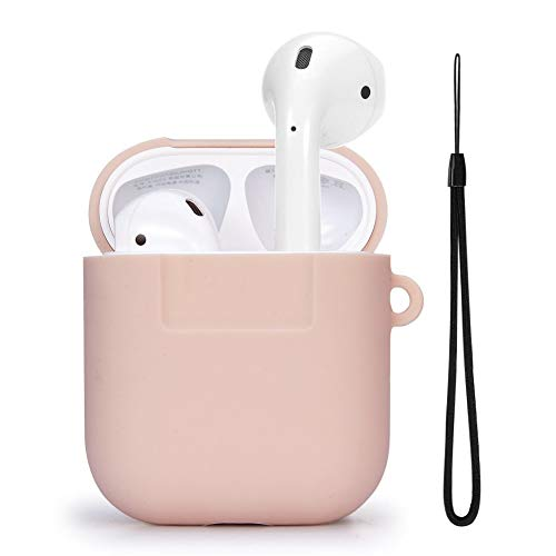 TomRich T350 Silicone AirPods Strap Case [Pink Sand] - [Cushion Protection] [Added Lanyard] - for Apple AirPods Case