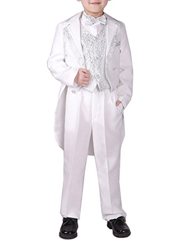Boys Black/White 5 Pieces Tuxedo Suits With Tail Tailcoat Vest Pants Shirt Bow Tie (White, (Notch Tuxedo Tailcoat)