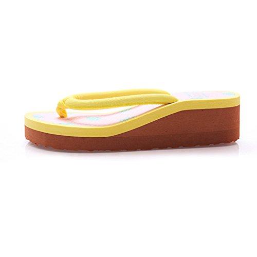 CHENGYANG Damen Blume Drucken Keilabsatz Flip Flops Mode Platform Zehentrenner Hausschuhe Gelb