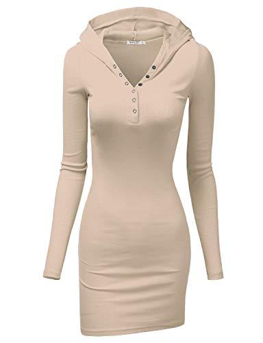 - Doublju Womens Long Sleeve Henley Neck Basic Hoodie Dress Beige Small