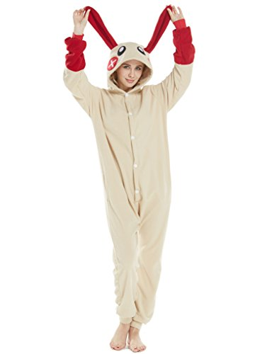 Animal Costume Pajamas Unisex Unicorn Cosplay Onesie Adult Women Men Halloween Rabbit Red -