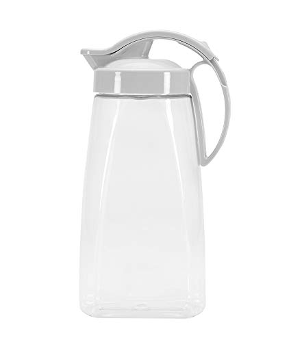 High Heat Resistant One-touch Airtight Pitcher 2.3QT (74oz) for Water, Coffee, Tea, Other Hot or Cold Beverages | Leak Proof & Space Saving, Dishwasher Safe, BPA Free | Made in ()