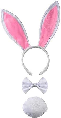 per Adulti e Bambini Perfetto per Carnevale e Cosplay thematys Set di Costumi Bunny Rabbit 3 Pezzi in 4 Colori Diversi Cerchietto Coda e Papillon Bianco