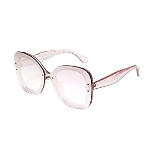 HOSOCHRIS Women/Men Neutral Fashion Oversized Round Aviator Sunglasses Integrated Retro UV Glasses (Pink)