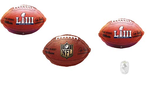 Football Superbowl Decorations Balloon Bundle of Three Football Shaped Balloons for Super Bowl 53 Team Party Birthday Tailgating]()