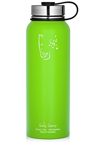SWIG SAVVY Water Bottles Stainless Steel - Vacuum Insulated Water Bottle + Stainless Steel Leak & Sweat Proof Cap Double Wall Thermos Flask for Hot or Cold Beverages (Light Green, 40oz)