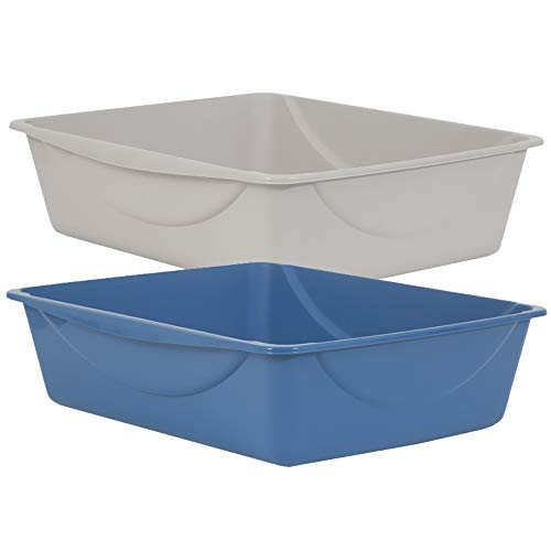 Petmate Open Cat Litter Box, Blue Mesa/Mouse Grey, 4 Sizes