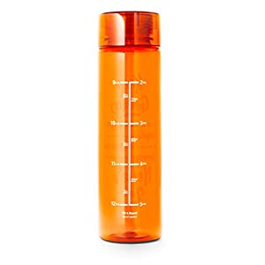 32oz Inspirational Fitness Workout Sports Water Bottle with Time Marker | Measurements | Goal Marked Times For Measuring Your H2O Intake, BPA Free Non-toxic Tritan (Orange)
