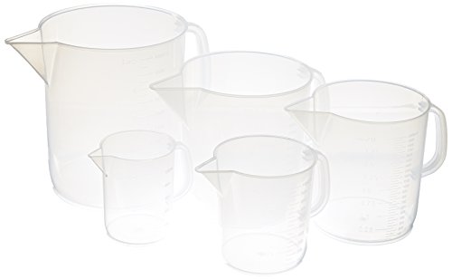 Polypropylene Plastic (Delta Education 5 Piece Polypropylene Short Form Plastic Pitchers Set, Clear)