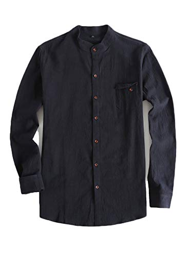 Cotton Mens Chinese Collar Shirt - Plaid&Plain Men's Slim Fit Long Sleeve Banded Collar Solid Linen Shirts Black M