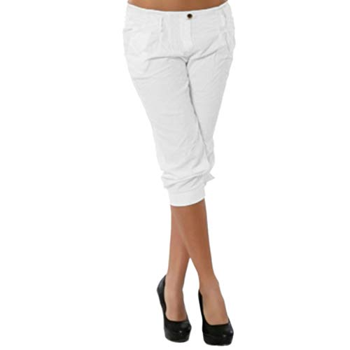JOFOW Pants for Women Capri Casual Solid Slim Low Waist Straight Leg Knee Length Pencil Elegant Workwear Chic Midi Trousers (S,Cream -1)]()