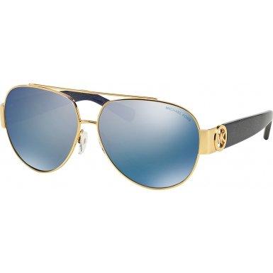 Michael Kors Women's Tabitha II Polarized Gold/Blue Glitter/Blue Mirror Polarized - Kors Glasses Michael Tabitha