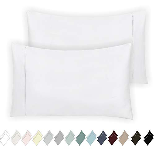 % Cotton Pillow Cases, Pure White Standard Pillowcase Set of 2, Long-Staple Combed Pure Natural Cotton Pillows for Sleeping, Soft & Silky Sateen Weave Bed Pillow Covers ()
