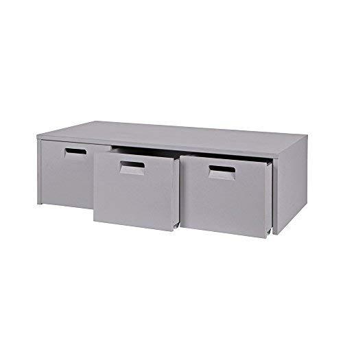 lounge-zone Kindersitzbank BUNKY mit 3 Schubladen, grau, Massivholz