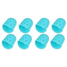 9 Pcs Large Medium Small Size Guitar Fingertip Protectors Silicone Finger Guards for Ukulele Electric Guitar (Light Blue)