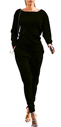 FOXRED Womens Casual Knitted Pullovers and Sweatpants 2 Pieces Basic Tracksuit Set