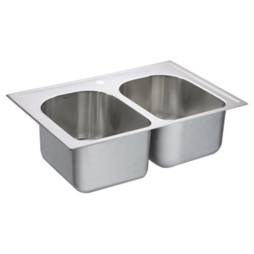 Moen G182571 1800 Series 18-Gauge Double Bowl Drop In Sink, Stainless Steel by Moen by Moen