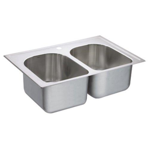 Moen G182571 1800 Series 18-Gauge Double Bowl Drop In Sink, Stainless Steel by Moen