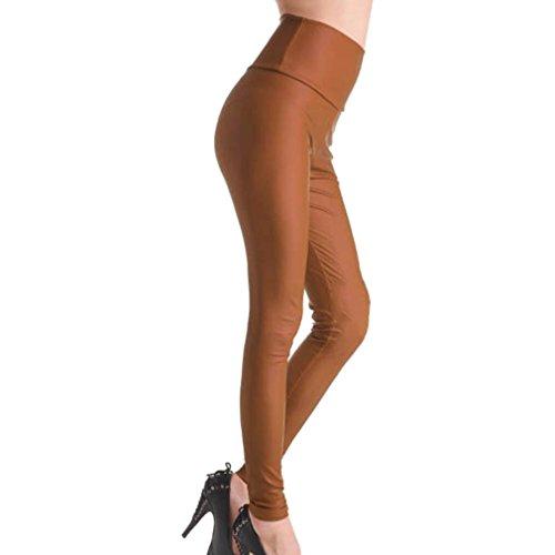 Donne Signore Bagnate Hibote Ghette Normali Ecopelle Sguardo Caff Pantaloni Alta Vita Bassa Alta Vita Vita T5ddqn