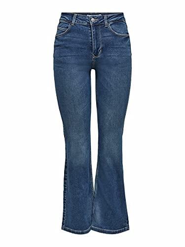 JdY Damen JDYNWFLORA Neela Life HW FLR MB01 DNM NO Jeans, Medium Blue Denim, 27/34