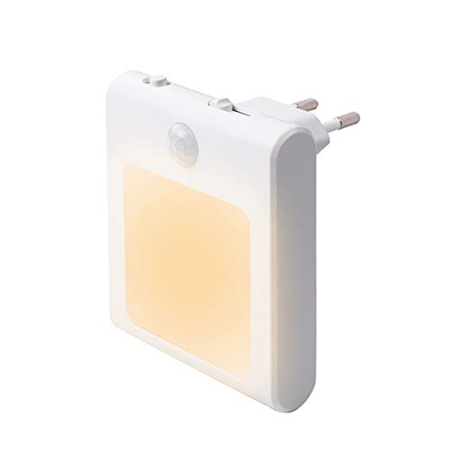 1 Stück LED Nachtlicht Steckdose mit Bewegungsmelder, Steckdosenlicht Helligkeit Stufenlos Einstellbar Orientierungslicht mit Auto, On, Off Schalter (1 Stück)