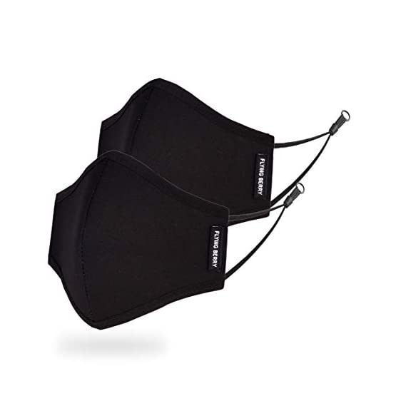Flying Berry Comfortable Cloth Face Mask   Premium Quality (BLACK, 2)