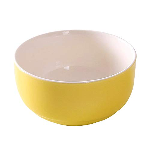 Cshopping 6.3 ounce Porcelain Bowls, Ceramic Bowls for Cereal, Soup, Noodle, Rice, Salad, Ice Cream, Bistro Bowl, Bright Yellow - 17 Oz Bistro Color