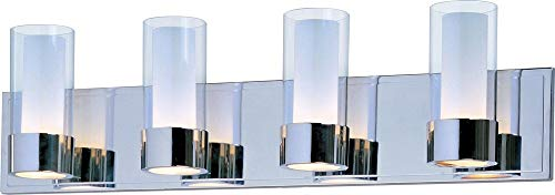 - Maxim 23074CLFTPC Silo 4-Light Bath Vanity, Polished Chrome Finish, Clear/Frosted Glass, G9 Frost Xenon Xenon Bulb , 100W Max., Wet Safety Rating, 2700K Color Temp, Standard Dimmable, Glass Shade Material, 1150 Rated Lumens
