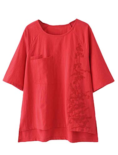 Chest Pocket Lightweight Pullover - Minibee Women's Embroidery Linen Tunics Hi-Low Hem Pullover Blouse Tops XL Red