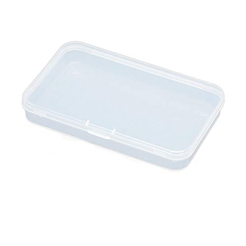 AKOAK Clear Polypropylene Rectangle Mini Storage Containers Box with Hinged Lid for Card,Accessories,Crafts,Learning Supplies,Screws,Drills,Battery,4.8