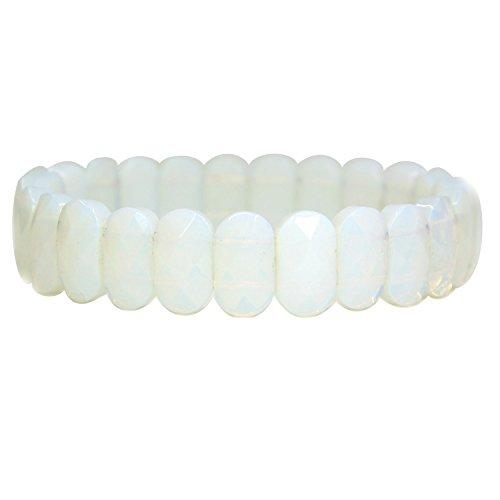 Amandastone Gem Semi Precious Gemstone 14mm Faceted Oval Beads Stretch Bracelet 7 Unisex