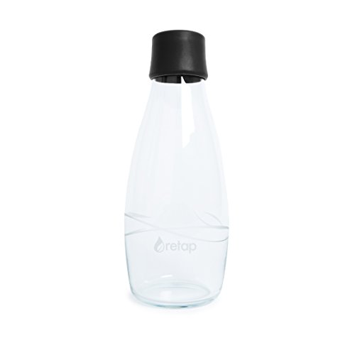 Retap Eco-Friendly Refillable BPA Free Borosilicate Glass Bottle and Water Infusion - Black – 17-Ounce by ReTap