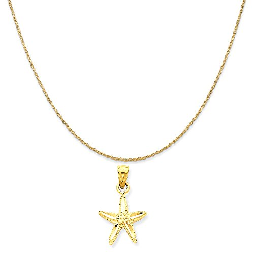 14k Yellow Gold Starfish Pendant on a 14K Yellow Gold Rope Chain Necklace, 18