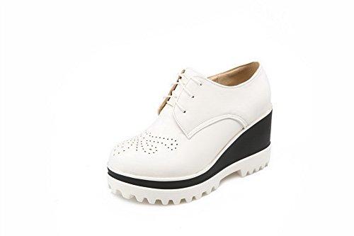 AllhqFashion Damen Weiches Material Schnüren Rund Zehe Hoher Absatz Rein Pumps Schuhe Weiß