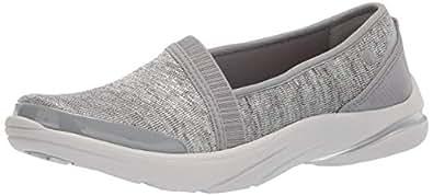 Bzees Women's Lollipop Sneaker, lite Grey/Metallic Heather Fabric, 5 M US