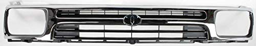 Grille Assembly Compatible with 1992-1995 Toyota Pickup Plastic Chrome Shell/Painted Black Insert 1-Piece Type 2WD